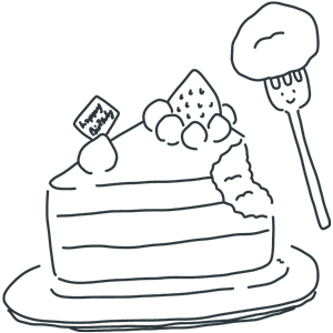 ケーキの日のぬりえ