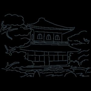 銀閣寺の日のぬりえ