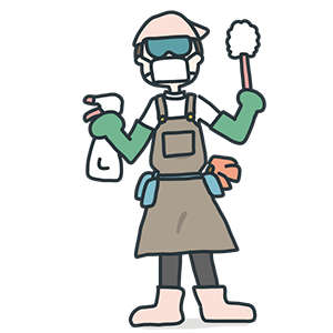 重装備で掃除に挑む人のイラスト