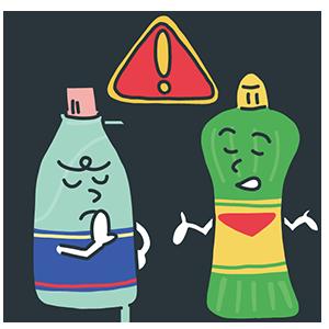 混ぜるな危険の洗剤のイラスト
