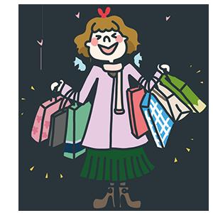 ショッピングしすぎた女性のイラスト