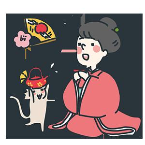 女性とねこちゃんのおめでたいお屠蘇のイラスト