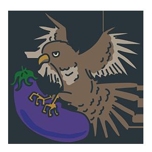 鷹がなすびを捕まえている縁起のいい初夢のイラスト