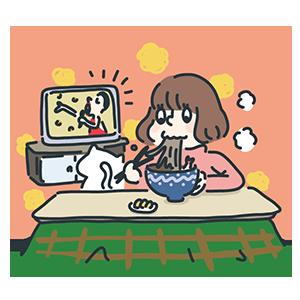 年末に歌番組を見ながら年越し蕎麦を食べているイラスト