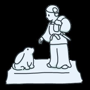 因幡の素兎の石像のイラスト