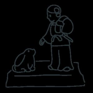 因幡の素兎の石像のぬりえ
