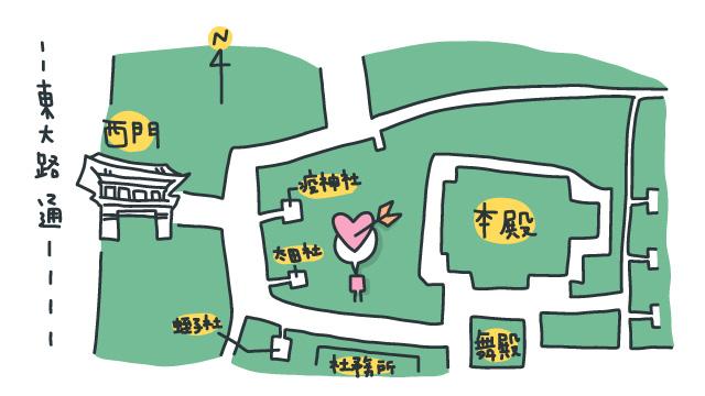 八坂神社内の大国主社の地図