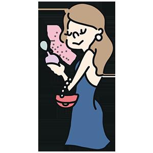 香水をかける女性のイラスト