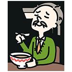食べ物を食べているおじさんのイラスト