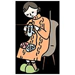 編み物をするお母さんのイラスト