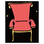 赤い豪華な椅子のイラスト