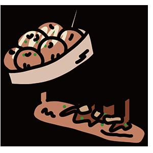 たこ焼きと焼きそばパンのイラスト