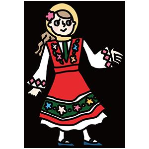 民族衣装を着た女性のイラスト