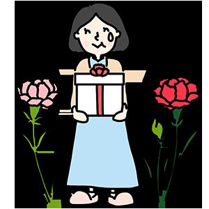 プレゼントをもらうお母さんのイラスト