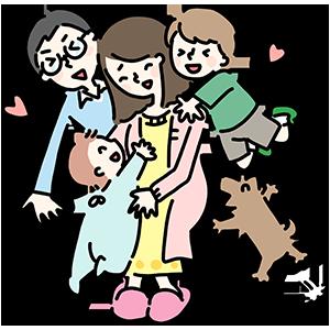 家族とおかあさんのイラスト