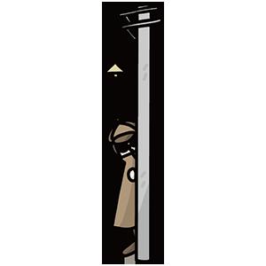 電柱の後ろにいる怪しい人のイラスト