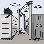 猫のいる風景のイラスト