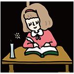文字を書く女性のイラスト