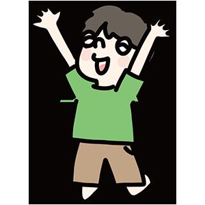 ジャンプしている男の子のイラスト