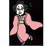 慌てている着物の女性のイラスト