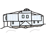 北極にある昭和基地のイラスト