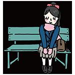 ベンチに座って音楽を聞く女性のイラスト
