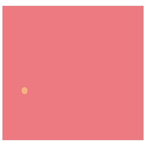 ピンク色のねずみのイラスト