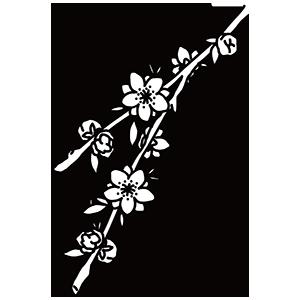 桃の花のぬりえ