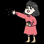 豆まきする女の子のイラスト