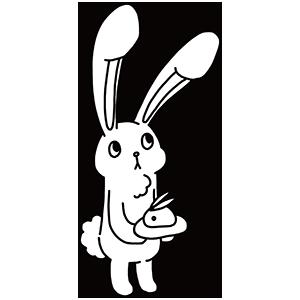 白いウサギのぬりえ