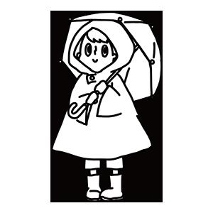 傘をさす男の子のぬりえ