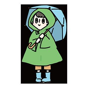 傘をさす男の子のイラスト