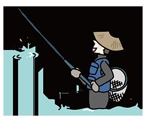 鮎釣りのイラスト