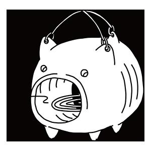 豚の形の蚊取り線香のぬりえ