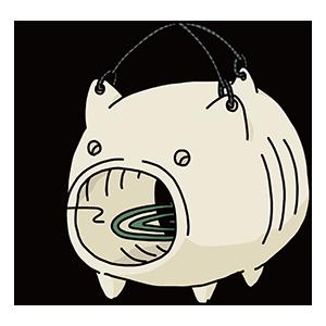 豚の形の蚊取り線香のイラスト