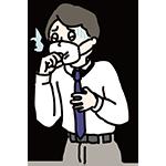 風邪を引いている男性のイラスト
