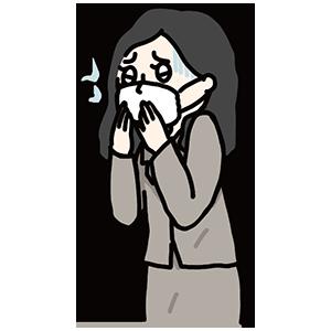 風邪を引いている女性のイラスト
