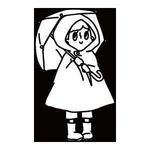 傘をさす女の子のぬりえ