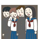 卒業生が合唱で泣いているイラスト