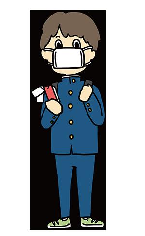マスクをしている男子学生のイラスト