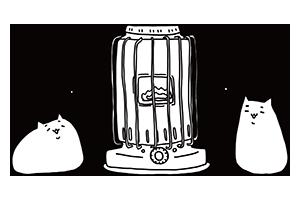 ストーブに集まる猫のぬりえ