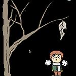 枯葉を見上げる少年のイラスト