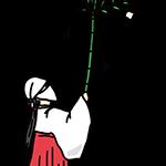 すす払いをしている女性のイラスト