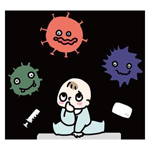 ウイルスと赤ちゃんのイラスト