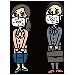 マスクをして苦しんでいる男女のイラスト