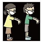 手を洗う男の子と女の子のイラスト