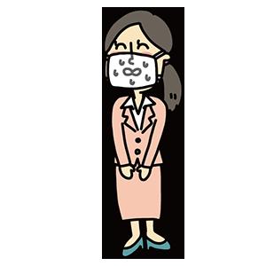 マスクをして汗をかいている女性のイラスト