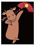年賀状に使える丑年のかわいい牛のイラスト