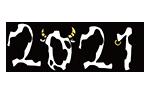 年賀状に使える丑年の文字のイラスト