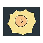 太陽のキャラクターのイラスト